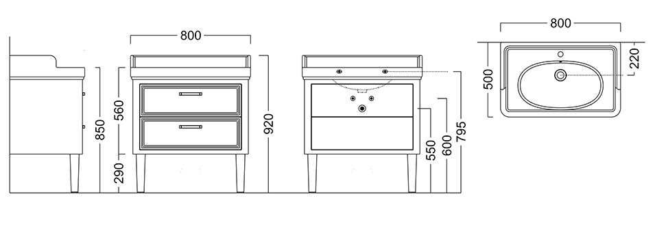 Монтажная схема. Тумба напольная  POMPEI для раковины 80 см, 2 ящика, черная