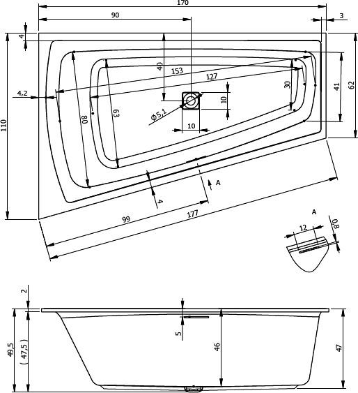 Монтажная схема. Асимметричная ванна Riho Still Smart R 170x110 без гидромассажа BR0300500000000