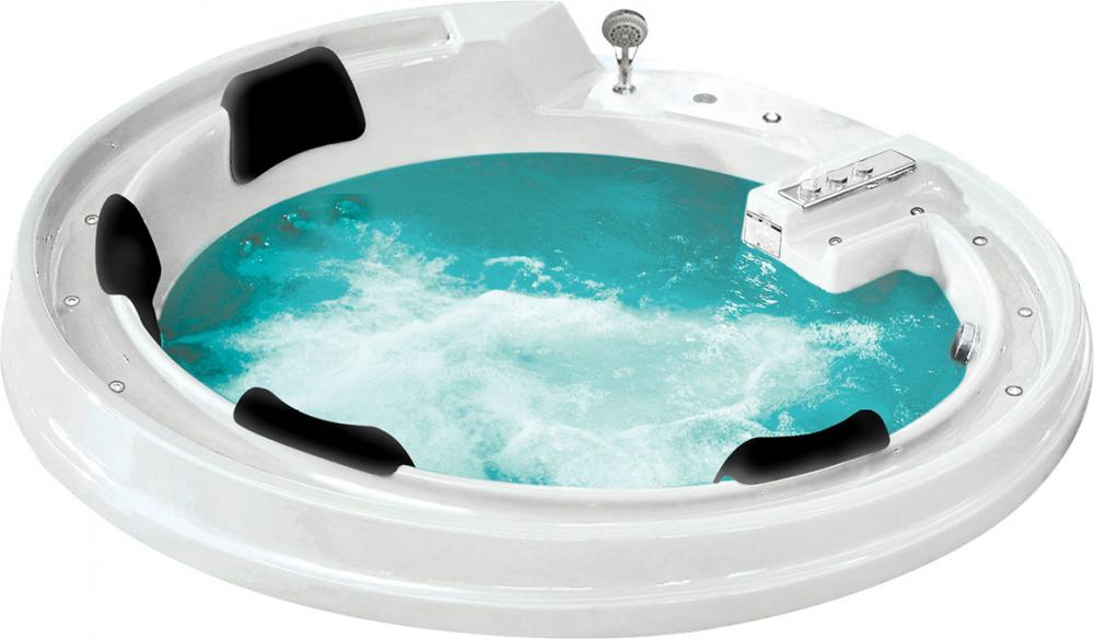 Ванна акриловая Gemy G9090 B 190 х 190 x 90 см с гидромассажем, круглая, встраиваемая, белая