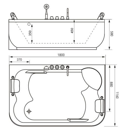 Монтажная схема. Гидромассажная акриловая ванна Gemy G9085 O R, 180 х 116 см