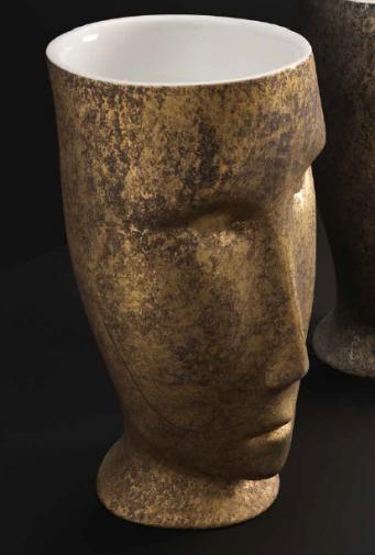 """Kerasan Artwork Раковина свободностоящая """"MOLOCO"""", с отверстием для слива в пол, цвет белый/античное золото"""
