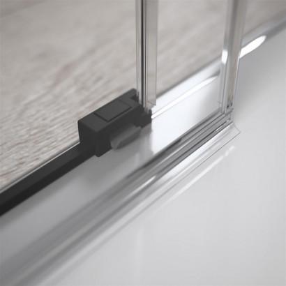 Боковая стенка для душевого уголка Radaway Idea Black KDJ 90 левая , профиль чёрный , стекло прозрачное 6