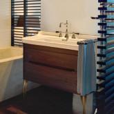 KERASAN Waldorf Комплект подвесной мебели 100 см, ножки ЗОЛОТО, с 1 ящиком и 1 дверцей, Цвет: noce