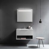 Cerasa Assolo Комплект: база подвесн с ящиком, цвет белый + столешница из мин/мрам, цвет бел. с 1отв 85*51,5*h50см + зеркало 85*h70 со светильник LED, цвет white