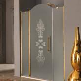 SAMO ETE Дверь в нишу с аркой 116-120хh203см (28+60+28) проф.золото, стекло мат. с прозр.декором R8 + StarClean