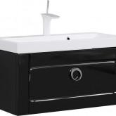 Инфинити Тумба под умывальник подвесная с ящиком, цвет черный Inf.01.08/001/BLK,