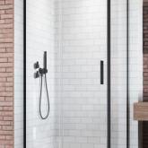 Дверь для душевого уголка Radaway Idea Black KDJ 130 левая , профиль чёрный , стекло прозрачное