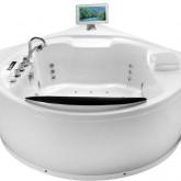 Гидромассажная акриловая ванна Gemy G9071 II O, с телевизором и холодильником, 181 х 181 х 75 см