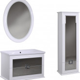 Комплект мебели Milarita  90 см тумба + зеркало + пенал 45 см + умывальник. Цвет - белый глянец.