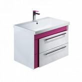Тумба с раковиной IDDIS Color Plus 60 подвесная белая/розовая