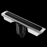 Желоб BERGES водосток напольный B1 Keramik 700 нержавеющая сталь, матовый черный, S-сифон D50/110 вертикальный