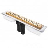 Желоб BERGES водосток В1 Antik 600, золото глянец, S-сифон D50/105 H50 вертикальный