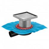 Трап BERGES водосток напольный ZENTRUM Keramik 150х150 под плитку, без обрамления, выпуск D50 H65 боковой