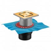 Трап BERGES водосток ZENTRUM Norma 150х150, золото глянец, выпуск D50/75/110 H74 вертикальный