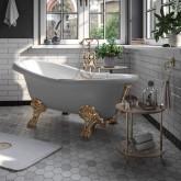 """MILADY Ванна 185x82xH75 см. на лапах """"MIGLIORE"""", STANDART белая, слив/перелив золото"""