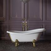 """MILADY Ванна 185x82xH75 см. на лапах """"LEONE"""" LUX, белая, слив/перелив золото"""