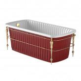 OLIVIA CONSOLE Ванна 174x83хH66 см. белая, панель красная, консоль, слив/перелив золото