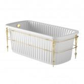 OLIVIA CONSOLE Ванна 174x83хH66 см. белая, панель белая, консоль, слив/перелив золото