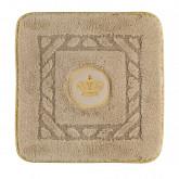 Коврик д/ванной комнаты 60х60 см. вышивка логотип КОРОНА, капучино, окантовка золото