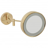 Зеркало оптическое с галогеновой подсветкой мью на шарнирах d22хh22x42 см. (3X), золото
