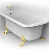 "Ванна Migliore OLIVIA ANG 174x80хH66 см. белая, на лапах ""LEONE"" LUX в угол, слив/перелив бронза"