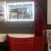 Тумба с раковиной De Aqua Эскалада 100 + пенал 35 открытый с подсветкой , цвет красный RAL 3001