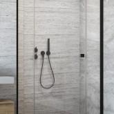 Неподвижная стенка для душевой двери Essenza New Black DWJS профиль чёрный , стекло прозрачное