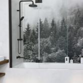 Шторка на ванну Radaway Essenza New Black PND II 140 левая , профиль чёрный , стекло прозрачное