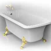 """Ванна Migliore OLIVIA ANG 174x80хH66 см. белая, на лапах """"LEONE"""" LUX в угол, слив/перелив золото"""