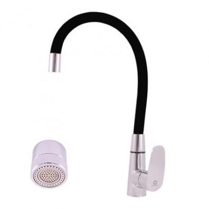 Смеситель RAV Slezаk AMUR кухонный с поворотным и гибким изливом черный, аэратор с поворотом на душ