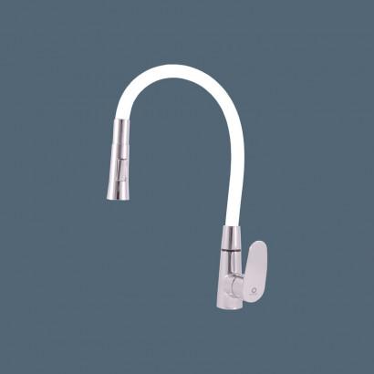 Смеситель RAV Slezаk AMUR кухонный с поворотным и гибким изливом, с душ.лейкой, белый