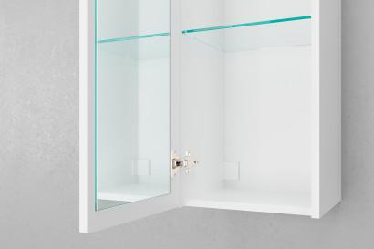 Пенал подвесной Unit 120, зеркало внутр., белый лед 3
