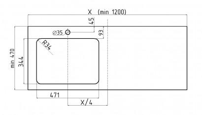 Столешница Unit 120, выс. 11, вырез тип 4SC, под Effe слева и смеситель, шатанэ 4