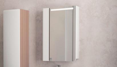 Зеркало-шкаф Cub 60 Белый + темный лен 2