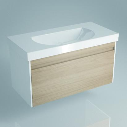 Тумба BUONGIORNO под умывальник подвесная 100 см  дуб с 1 выдвижным ящиком + 1 внутренний ящик