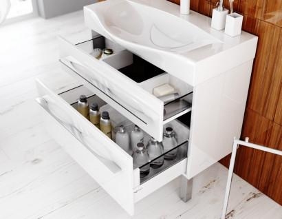 Милан тумба под умывальник на ножках с ящиками, цвет белый  Mil.01.08/2n/W, 4