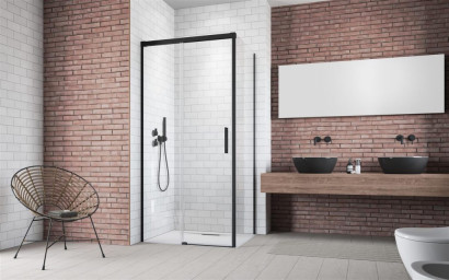 Дверь для душевого уголка Radaway Idea Black KDJ 130 правая , профиль чёрный , стекло прозрачное 2
