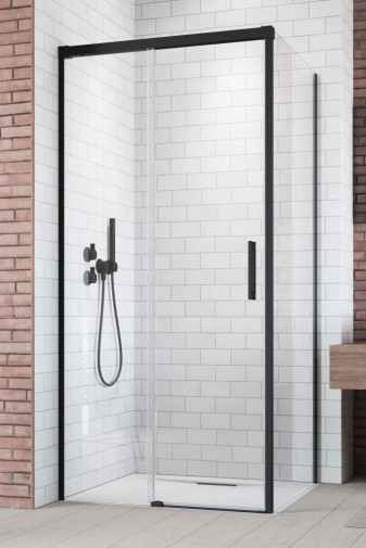 Боковая стенка для душевого уголка Radaway Idea Black KDJ 80 левая , профиль чёрный , стекло прозрачное