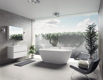 Овальная ванна из искусственного камня Riho Bilbao 150x75 белая BS1200500000000 7