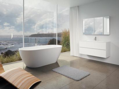 Овальная ванна из искусственного камня Riho Bilbao 150x75 белая BS1200500000000 8