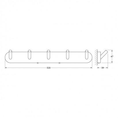 Планка с 5-ю крючками 32 cm Artwelle Harmonie HAR 003 2
