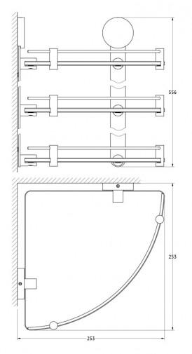 Полка угловая трёхъярусная Artwelle Harmonie HAR 041 26 cm (матовое стекло; хром) 2