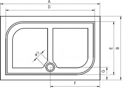 Душевой поддон Riho Zurich DA64 140 x 90 повреждена упаковка, в заводской пленке. 2