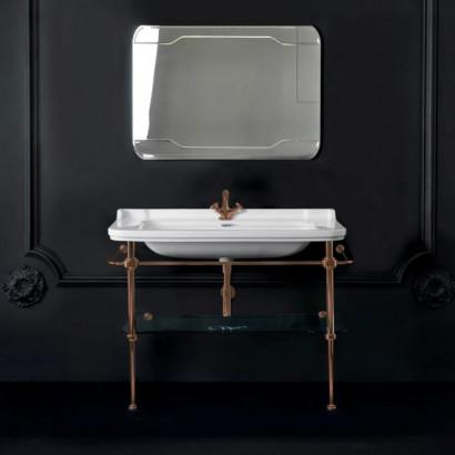 Металлическая структура с раковиной Kerasan Waldorf  120см, со стеклянной полочкой, цвет бронза (из 2-х коробок: арт. 920393+920293 и 920401)