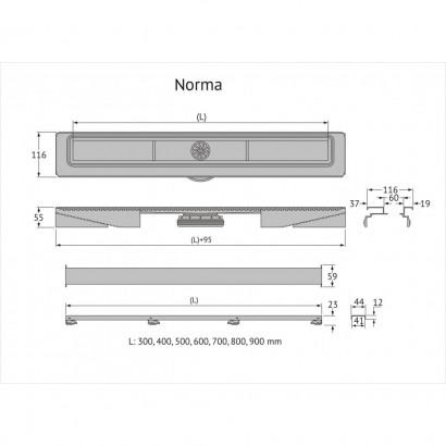 Желоб BERGES водосток C1 Norma 900, матовый хром, S-сифон D50/105мм H50 вертикальный 3