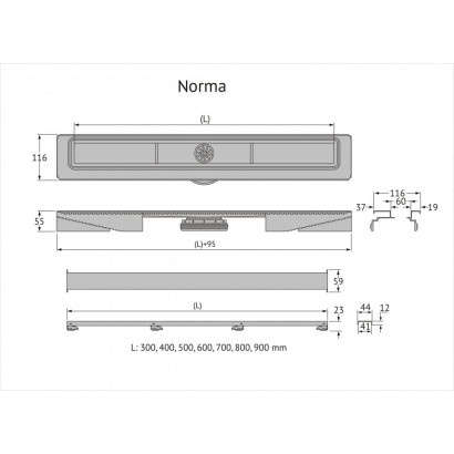 Желоб BERGES водосток напольный С1 Norma 600 нержавеющая сталь, матовый черный, S-сифон D50 боковой 2