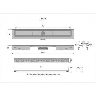 Желоб BERGES водосток C1 Brise 600, матовый хром, S-сифон D50 H60 боковой 3