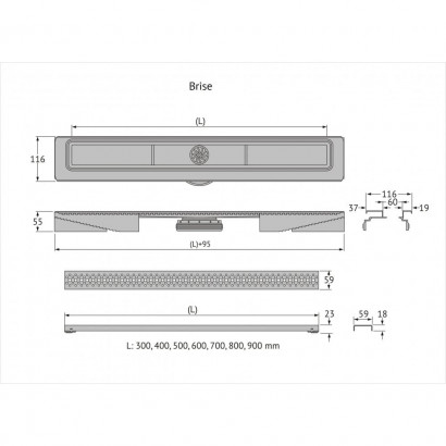 Желоб BERGES водосток C1 Brise 700, матовый хром, S-сифон D50 H60 боковой 3