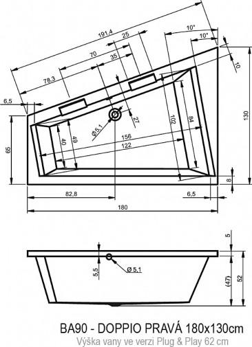 Акриловая ванна Riho Doppio 180х130 R BD4400500000000 без гидромассажа 2