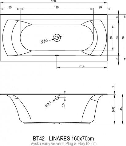 Акриловая ванна Riho Linares 160х75 BD5200500000000, левая 2